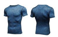 vücut geliştirme tayt forması toptan satış-2018 sıcak Erkekler Kısa Kollu Spor Basketbol Koşu Spor T Shirt tee Termal Kas Vücut Geliştirme Spor Sıkıştırma Tayt Forması Ceket