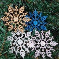 ingrosso ornamenti di fiocco di neve oro-10cm Materiale acrilico Oro argento Xmas Charme bianco blu fiocco di neve festa vacanze ornamenti di Natale Casa decorazione fiocco di neve