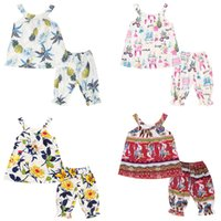 Wholesale neck lanterns - Kids Girls Clothing Sets Flower Puppy Bohemian Totems Graffiti Printing Strapless Shirt Top Lantern Pants 2-pcs Suit Baby Outfits 3-7T