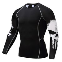 ingrosso lungo sollevamento-T-Shirt Punisher Mma T Shirt Compressione Top Uomo Maniche lunghe Top Crossfit Fitness Base Layer Sollevamento pesi Vestiti Taglie forti S-4XL