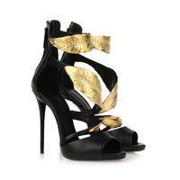 Wholesale dress pvc golden - New Arrival summer pump sandals golden gold leaf high heels sandals heel pump sandals for women heels shoes