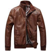 motosiklet için ceket deri toptan satış-2018 Yeni Erkek Ceketler PU Giyim Lokomotif Erkekler Için Giyim Ceket Erkekler 'S Deri Ceket Motosiklet Palto Erkek Chaqueta