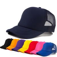 boş ayarlanabilir kapaklar toptan satış-Ayarlanabilir Moda Beyzbol Şapkası Katı Trucker Mesh Boş Kavisli Visor Şapka Düz Renk