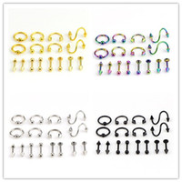Wholesale stainless steel ear piercing studs for sale - Group buy 16 Set Stainless Steel Nose Lip Nipple Eyebrow Ear Studs Bar Ring Ball Piercing Kit Body Jewelry