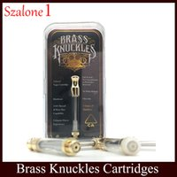 Wholesale liberty round - Brass Knuckles Vape Cartridges 0.5ml 1.0ml Gold Atomizer With Packing box Round Metal Tip VS Liberty V1 V9 V10 tank 0266194-1