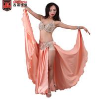 a6f6fee80 Professional Belly Dancing Costumes Set Performance Diamond 2PCS Bra Skirt  Oriental Beads Costume Belly Dance Dress C D Cup