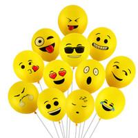 globos de latex amarillo al por mayor-Nuevo helio volando Emoji Globos Sonrisa Expresión facial Amarillo Látex Globos Fiesta Globos de boda Dibujos animados de bolas inflables