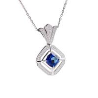jóias colares design venda por atacado-Venda quente 2018 novo design clássico 925 sterling silver gemstone natural jóias azul topázio prata charme pingente de colar de jóias