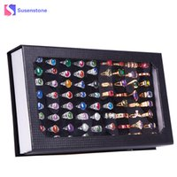 Wholesale wood show case - High-grade 72 Slot Ring Box Velvet Jewelry Display Rings or Pendant Organizer Show Case Holder Box Jewelry Storage Wholesale