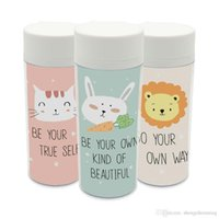 Wholesale personalized cat gifts online - Plastic Insulated Modern Kawaii Animals Rabbit Lion Cats Kids Water Bottles ml Gifts BPA Free With Lid Clear Personalized