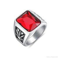 joyas de circón negro al por mayor-Anillo de los hombres de la vendimia hoja de arce con rojo negro circón cúbico joyería de los hombres anillo de dedo bandas joyería masculina antigua GJ623