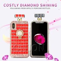 apfel iphone steht großhandel-360 Grad-Ring-Stand-Diamant-Kasten-Parfümflasche-Kasten-Diamant-Rhinestones-Abdeckung für iphone x 7 8 plus 6S mit Kettenkasten