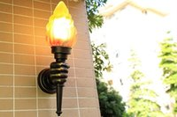 Wholesale porch lighting for sale - Group buy Creative torch hand wall lamp outdoor light garden yard porch living room bedroom stair aisle corridor restaurant cafe light bra LLFA