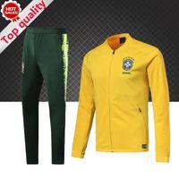 Wholesale pre set - TOP Quality Brazil Soccer Jacket set 2018 World Cup tracksuit yellow PRE-MATCH Football jacket kit Neymar Coutinho Brazil Training suit