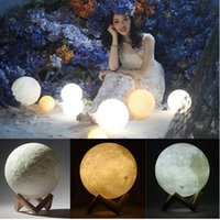Wholesale Christmas Desk - 3D Magical Moon LED Night Light Dimmable 16colors Magical Moon LED Light Moonlight Desk Lamp USB Rechargeable 3D MoonLight Colors Stepless