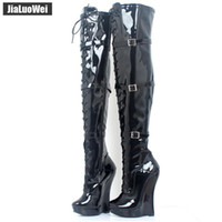 Wholesale over knee men boots for sale - Group buy Man Dance Ballet Shoes Lace up quot CM Wedge High Heel Buckle Straps PU Leather Fashion Sexy Fetish Over The Knee Long boot Thigh high boots