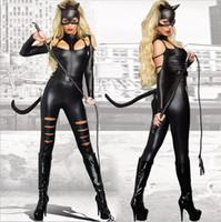 сексуальный черный костюм супер героя оптовых-2016 новый сексуальный кот ПВХ костюм необычные платья Блестящий Супер Герой черный кожа животных женский костюм Хэллоуин костюмы для женщин Y1892611