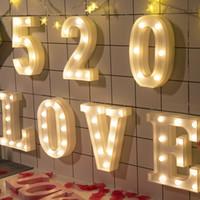 ingrosso lettere numeri di simboli-2018 Ins hot 26 lettere digtal led luci simbolo lampada da tavolo compleanno festa di compleanno, luce numero