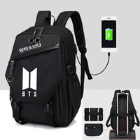 aynı telefon toptan satış-Yeni Kpop BTS BT21 Bangtan Boys Aynı Tuval Öğrencileri Çantası Telefon Şarj Sırt Çantası Moda Genç Sırt Çantası Seyahat Laptop Çantası
