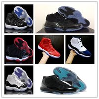 Wholesale navy blue brown - 11 Prom Night Cap and Gown Blackout Win Like 82 96 Gym red Chicago Midnight Navy Basketball shoes 11s Bred Space Jam Concords Sports Sneaker