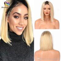 brazilian bakire saç peruk 1b toptan satış-Brezilyalı Virgin İnsan Saç 613 Sarışın Bob Peruk Dantel Ön Peruk 1B Siyah Kadınlar için Ombre Renk Perulu Işlenmemiş Remy Saç ABD