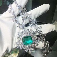 Wholesale big blue flower plates resale online - high quality designer CZ diamond big green blue stone geometric flower pendants necklaces K white gold plated party jewelry for women