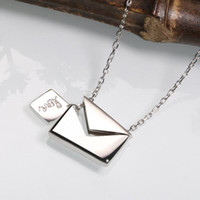 Wholesale envelope love letter resale online - luxury jewelry S925 sterling silver designer necklace for women envelope love letter pendant necklace hot fashion free of shipping