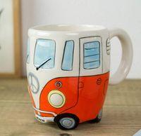 Wholesale Buses Steels - Cartoon Double Bus Mugs Hand Painting Retro Ceramic Cup Coffee Milk Tea Mug Drinkware Novetly Gifts 1pc