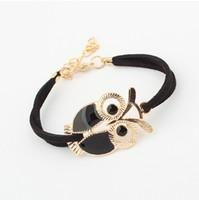 Wholesale Owl Charms Enamel - whole saleBrand New Fashion Leather bracelets bangles Enamel Gold Colour Night Owl Charm Bracelet pulseiras for Women Men jewelry Bijoux