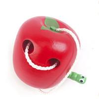 brinquedos educativos de tecido venda por atacado-Come a maçã brinquedos de madeira do bebê 0-24 mês cedo crianças educacionais com cor vermelha crianças brinquedo