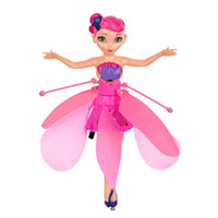 муха детской игрушки оптовых-Новый DIY летающая фея куклы обучения образование инфракрасный индукционная управления летающих Ангел кукла детские игрушки для девочек Рождественский подарок