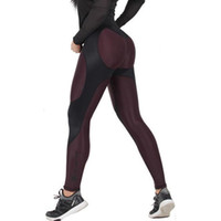 Wholesale Push Pencil - 2017 New Patchwork Women Fitness Leggings High Waist Workout Sporting Women Leggings Push Up Slimming Pants Female Pencil Pants