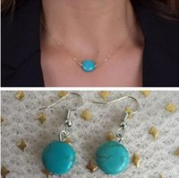 круглое ожерелье оптовых-n1034 новый список мода ретро панк готический синий натуральный камень плоские геометрические круги серьги ожерелье женский комплект ювелирных изделий