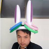 Wholesale ear hat adult for sale - Group buy Inflatable Rabbit Ears PVC Inflation Hats Throw Ring Non Toxic Kid Child Adult Toy Gift Cartoon Lovely Outdoor Play Hot Sale mt V