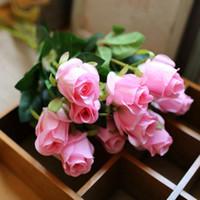 Wholesale black flower simulation resale online - 10pcs Artificial Vivid Rose Flowers Desktop Silk Flower Simulation Fake Plant Wedding Table Home Decor