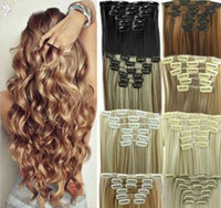Wholesale clips hair extensions resale online - 16 quot quot Brazilian Remy Human hair Clips in on Human Hair Extension set Full Head g g g FZP35