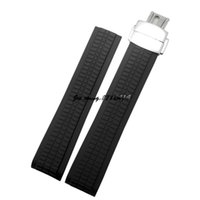 ремешок для часов 21 мм оптовых-JAWODER Watchband 21mm Black Waterproof Diving Silicone Rubber Watch Band Straps with Deployment Clasp for AQUANAUT 5167A-001