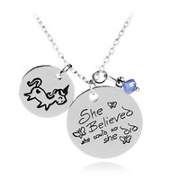 Wholesale Letter Beads Pendants - She Believed She Could So She Did Unicorn pendant Blue Bead Motivational Inspirational animal Jewelry letter necklace Drop Ship 380006