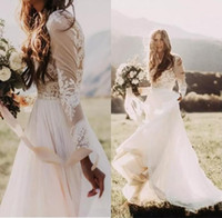 Wholesale White Lace Beach Wrap Long - Bohemian Country Wedding Dresses With Sheer Long Sleeves Bateau Neck A Line Lace Applique Chiffon Boho Bridal Gowns Cheap