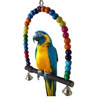 spielzeug für papageien groihandel-Vogel Papagei Käfig Hängematte Hängen Schaukel Spielzeug Holz Papagei Nagen Spielzeug Haustier Verhalten Ausbildung Liefert Multi Farbe 12 5hz3 Y