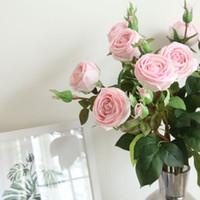 gül demeti buketi toptan satış-Yapay ipek Bunch Gül Çiçek Buketi Sahte Çiçek Düzenlemek Masa Düğün Çiçekleri Dekor Parti aksesuarı Flores