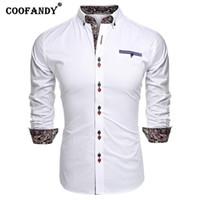 ingrosso camicia a maniche lunghe in manica lunga-Colletto Button Shirt Slim Print Long Turn-Down Autunno Casual Bianco Primavera Fit Rosso Blu Black Sleeve Royal Men