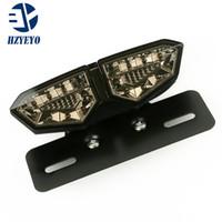 ingrosso accessori per motocicli universali-HZYEYO Smoked + Red Motorbike Portable Integrated LED Brake + Indicatori di direzione Luci di coda Indicatori di direzione posteriori per motocicli Accessori