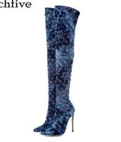 senhoras botas de cowboy curto venda por atacado-Lavar Cowboy Sobre o joelho Botas Mulheres Sexy Dedo Apontado Curto Plush Forro Diem Jean Sapatos De Salto Alto Senhora Botas Longas