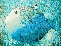 pintura a óleo das canvas dos peixes venda por atacado-Imagem sem moldura pintura by numbers peixes diy pintura a óleo digital da lona 16x20 polegadas