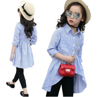 Discount fashion dresses 12 years - Kids Girls Shirts Fall 2018 Children Cotton Striped Shirt Dress Blue Blouses 5 7 9 10 12 Years Girls Clothes