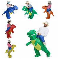 Wholesale mascot costumes for girls - Ride Costumes Toy Halloween Animal Inflatable Dinosaur Costume Red Blue Green Fan Operated Costumes for Women Men Boy Girl mascot