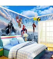 erkek çocuk çıkartmaları toptan satış-Çocuk Odası Duvar Kağıdı Boy Yatak Odası Karikatür Duvar Bez Duvar 3D Avengers Duvar Sticker Dokunmamış Kumaş Duvar Çıkartması 22lt gg