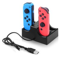 Wholesale Charger Nintendo - 4 In 1 Charging Dock Station LED Charger Cradle For Nintendo Switch 4 Joy-Con Controllers Nintend Switch NS Charging Stand 1pcs lot