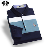 Wholesale blue polo shirts for men online - Mudi Men Polo Shirts Long Sleeve Shirt For Male Cotton Soft Striped Printed Slim Turn Down Collar Polo Shirt Casual Men Clothes
